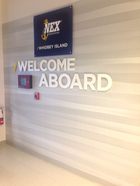 -  Architectural Signage - Dimensional Lettering, Acrylic, & Custom Wallpaper - Navy Exchange Whidbey Island - Oak Harbor, WA