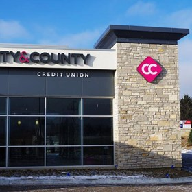 Lit Channel letters for new build City and County Credit Union in Woodbury, MN